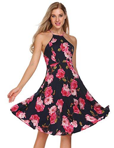 Finejo Womens Sleeveless Halter Neck Vintage Floral Print Midi Dress