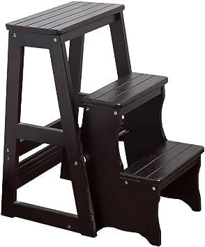 YXX-Taburete escalera Taburete con peldaños de 3 peldaños for adultos, escalera de peldaños de madera liviana con capacidad de hasta 330 lb, escaleras de cama antideslizantes for el dormitorio de la c: