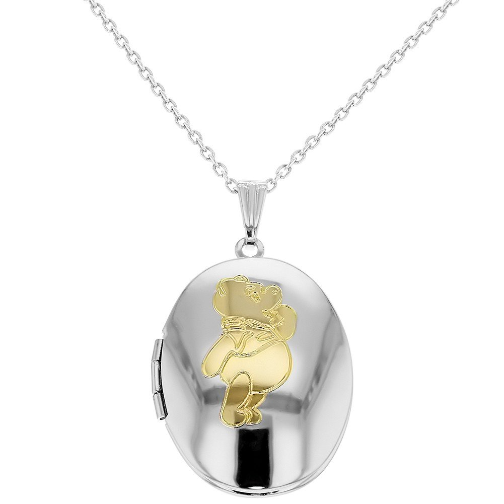 Silver Tone Teddy Bear Oval Photo Girls Locket Necklace Pendant 16 In Season Jewelry 09-0362
