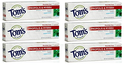 Tom's of Maine Antiplaque Baking Soda Toothpaste with Propolis and Myrrh, Peppermint, 5.5 Ounce (Pack of 6)
