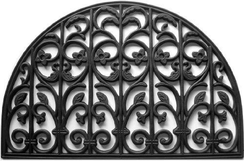 Calloway Mills 900102436 Carrington Rubber Doormat, 2' x 3', Black Black Rubber Scroll Design