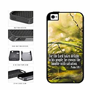 Psalm 149-4 Bible Verse on Green Floral Background 2-Piece Dual Layer Phone Case Back Cover Apple iPhone 5 5s includes diy case Cloth and Warranty Label