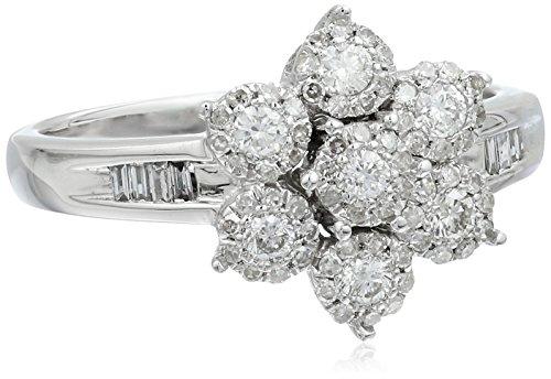 10k White Gold Cluster Flower Diamond Ring (1/2cttw, H-I Color, I2 Clarity), (10k White Gold Diamond Flower)