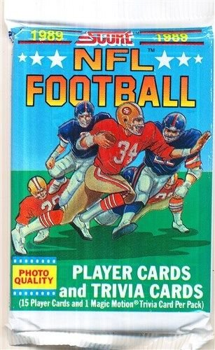1989 Score Football Un-opened Pack with 15 cards. Look for some great Rookie Cards Including Barry Sanders, Troy Aikman, Cris Carter, Deion Sanders, Tim Brown, Michael Irvin, Thurman Thomas, (Barry Of Fame Hall Sanders)