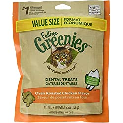 FELINE GREENIES Natural Dental Care Cat Treats Oven Roasted Chicken Flavor, 5.5 oz. Pack