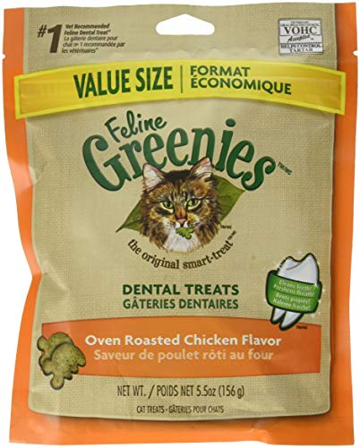 FELINE GREENIES Dental Natural Cat Treats Oven Roasted Chicken Flavor, 5.5 oz. Pouch