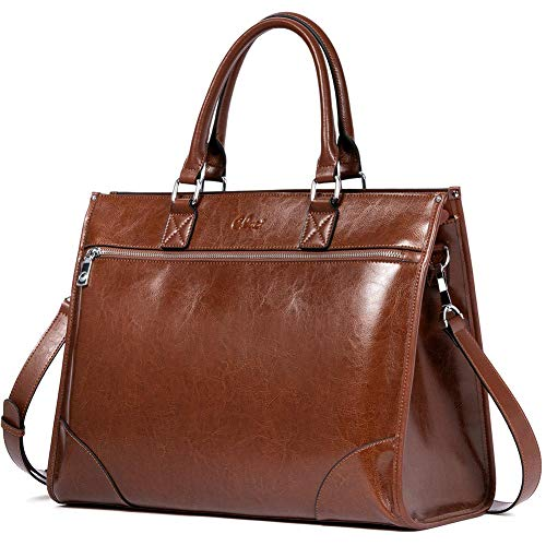 CLUCI Womens Briefcase Oil Wax Leather 15.6 Inch Laptop Ladies Large Capacity Business Vintage Shoulder Bag Brown