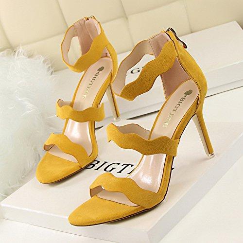 Xing Lin Sandalias De Cuero Verano Nuevo Ante Negro Con Finas Roman Zapatos Con Tacón Sandalias De Punta Abierta yellow