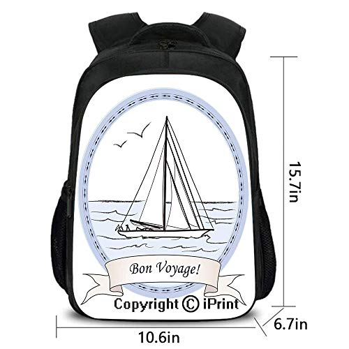 Men and Women Student Backpack,Yatch in Ocean Label Vintage Travel Card Inspired,School Bag :Suitable for Men and Women,School,Travel,Daily use,etc.Lilac Baby Blue White