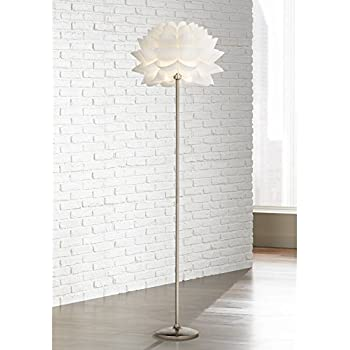 Modern Arc Floor Lamp Satin Nickel White Flower Shade For Living Room Reading Bedroom Office