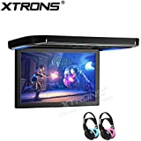 XTRONS 12.1 Inch 1080P Video Car Overhead Player Roof Mounted Monitor HDMI Port Children IR Headphones(Blue&Pink)