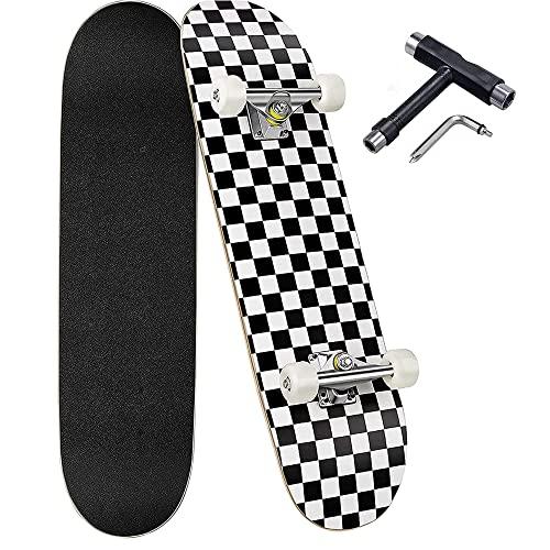 Skateboard Komplettboard, Deecam 31×8 Zoll Cruiser Skateboard für Anfänger Kinder Jugendliche Erwachsene, ABEC-7 Kugellager und 7-lagigem Ahornholz Longboard mit All-in-one Skate T-Tool