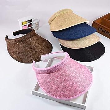 b21f41eb15bf3 Amazon.com  LooBooShop Summr Women Casual Sun Visor Hat Beach Empty hat  Ladies Adjustable Nature Straw Topless Cap  Kitchen   Dining