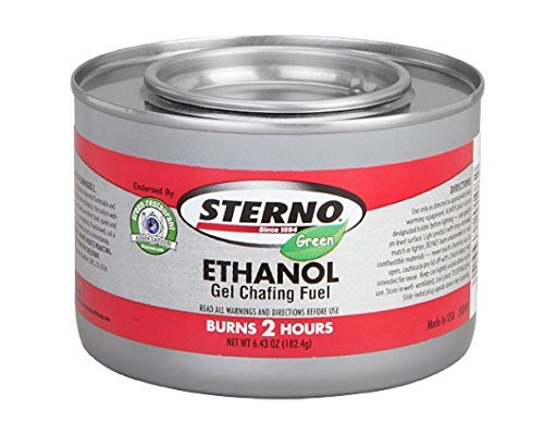 - Sterno - Ethanol Gel Chafing Fuel/ Burns for 2 Hours/ Entertainment Cooking/ Camping/ Catering/ Biodegradable - GRA Endorsed (Pack of 6)