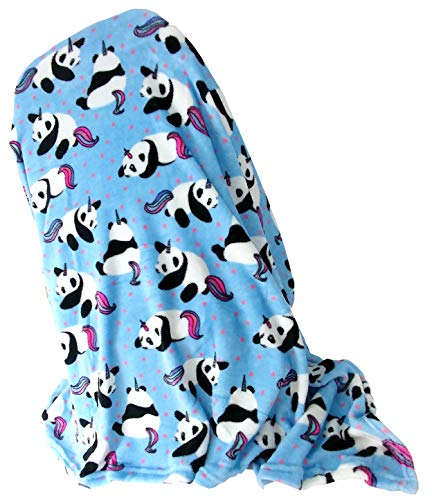 - Warm and Snuggly Panda Pandacorn with Rainbow Tail Plush Soft Cozy Throw Blanket 50 x 60 inch Multi Colored Great Gift