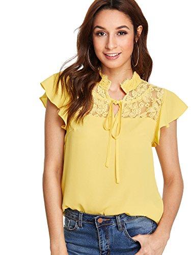 Floerns Women's Flutter Sleeve Lace Collar Summer Chiffon Blouse Yellow (Ruffle Collar Shirt)
