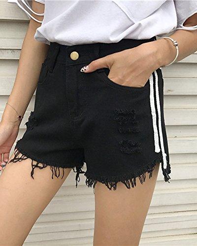 Alta Denim Shorts Pantaloni Nappa Donna Nero Vita Donne Corti Buco Pantaloncini Jeans Di PHwzxwvq