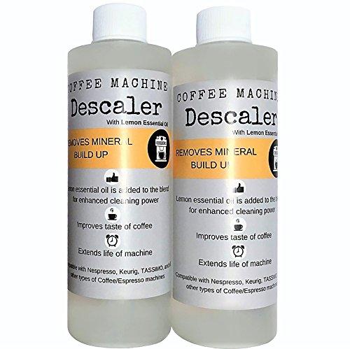 Descaler (2 Pack/4 Uses) | USDA Organic Lemon Essential Oil Added | Universal Descaling Solution for Kuerig, Delonghi, Nespresso and All Single Cup, Slow Drip, and Espresso Machines (Descaler Nespresso Machine)