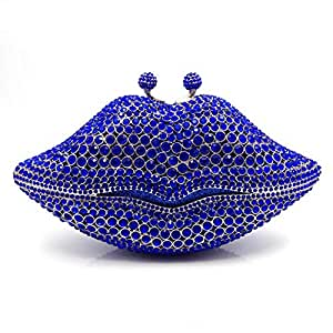 LVfenghe Creative Lips Styling Full Luxury Rhinestone Solid Color Banquet Evening Bag Female Metal Chain Shoulder Strap Daily Wedding Bride Gift Clutch pu Wallet Size: 20 * 5 * 12cm (Color : Blue)
