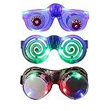 LED Glasses Party Pack, DAXIN DX Light up Glasses for Family Sets Popular Toys [LED Goggles + Slinky Eyeball Glasses + Flashing Shutter Glasses], Colorful LED Lights(Pack of 3)