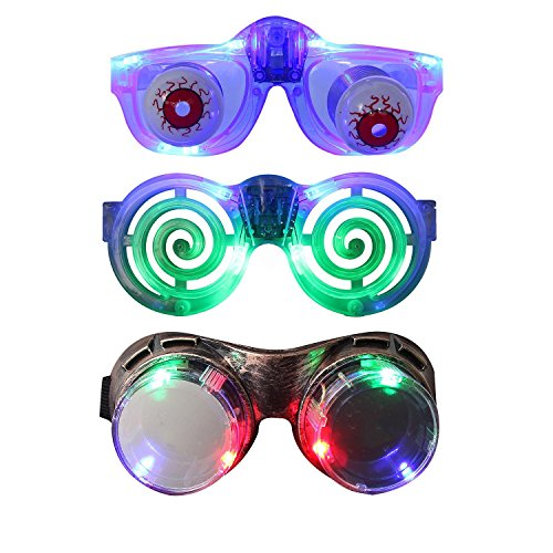 Led Costume Family (LED Glasses Party Pack, DAXIN DX Light up Glasses for Family Sets Popular Toys [LED Goggles + Slinky Eyeball Glasses + Flashing Shutter Glasses], Colorful LED Lights(Pack of 3))