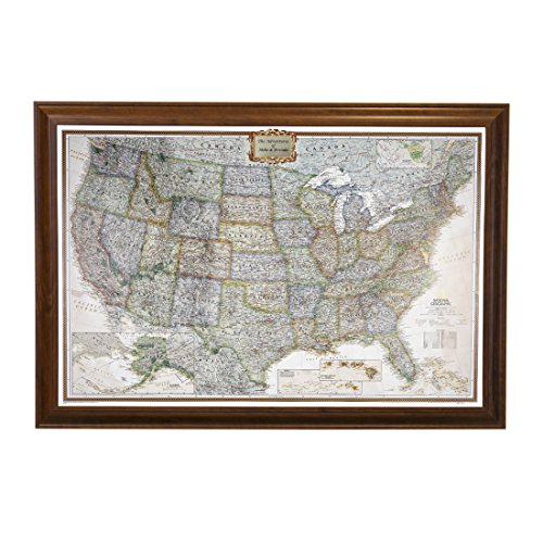 Push Pin Travel Maps Personalized Executive US with Brown Frame and Pins - 27.5 inches x 39.5 inches