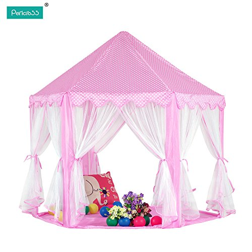 Pink Princess Castle Playhouse Fun Netting Outdoor Kids Play