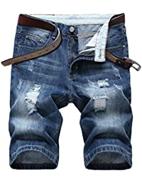 Men's Ripped Denim Shorts, No Belt