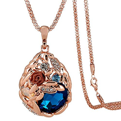 Jude Jewelers Long Sweater Chain Pendant Necklace Rose Gold Crystal (Rose Gold-Blue Stone)