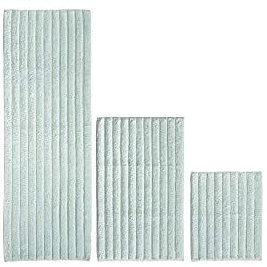 mDesign 100% Cotton Luxury Rectangular Spa Mat Rugs, Plush Water Absorbent – for Bathroom Vanity, Bathtub/Shower, Machine Washable – Ribbed Design – Runner, Standard & Small Rug, Set of 3 – Water Blue