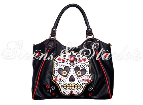 Excellent Tattoo Candy Red Sugar Black Bag Skull Quality Rockabilly Handbag Womens zgP7q7