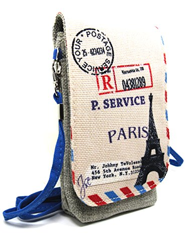 Naoki British Style Linen Mobile Cellphone Pouch Mini Messenger Shoulder Bag Coin Purse Wallet Handbag with Two Pockets for apple iphone 6 6plus samsung galaxy note4 s5 HTC one m8 credit card keys money etc(4 Eiffel) (Htc One M8 Wallet Case Strap)