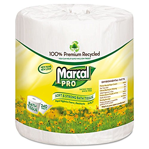 Marcal(R) Pro Premium 2-Ply Bathroom Tissue, 100% Recycled, White, 240 Sheets Per Roll, Carton Of 48 Rolls (Bath Marcal Tissue Premium)