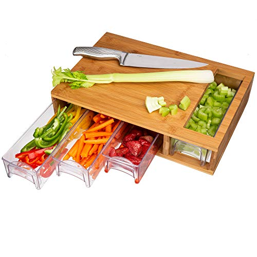Large Bamboo Cutting Board with Trays/Draws - Wood Butcher Block with 4 Drawers & Opening For Meat, Fruits, Veggies, Bread, Cheese – Naturally Antimicrobial – Make Meal Prep Easy - Cutting Board Tray