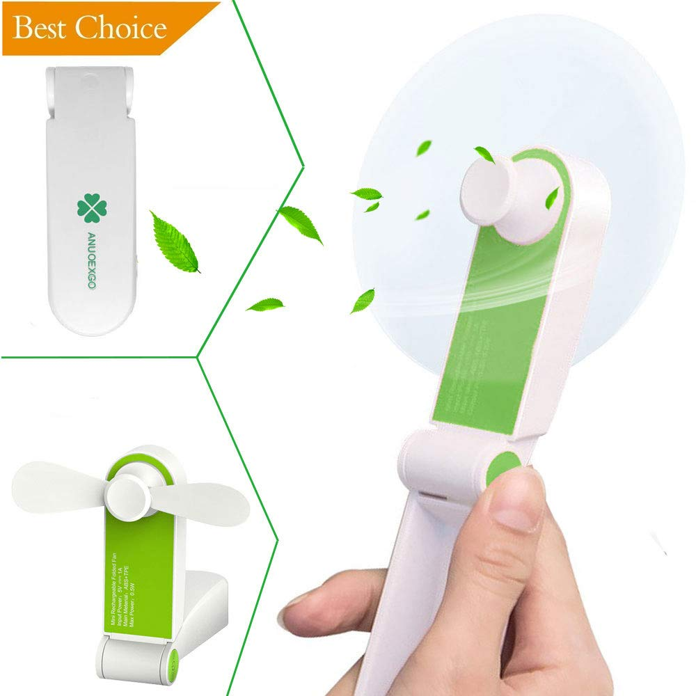 Mini Handheld Fan, Personal Portable Cooling Fan Foldable Desktop Table Electric Fan USB Rechargeable Air Conditioning Fan Strong Wind Pocket Size Gift for Office, Outdoor Travel,Camping,Car(Green)
