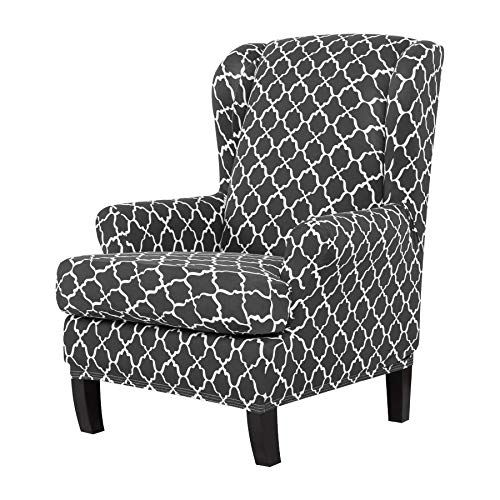 - TIKAMI Wing Chair Slipcovers Stretch Wingback Armchair Cover 2-Piece Sofa Furniture Protector with Printing Pattern Spandex Fabirc(Gray)