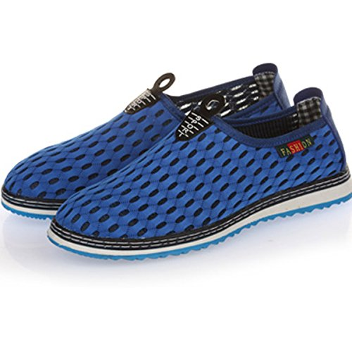 Blue Casual On Slip Outdoor Mesh VECJUNIA Mans Sneakers Shoes qTw8F