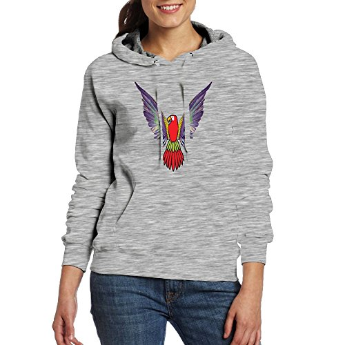 Womens Red Parrot Warm Hoodie With Cap Kangaroo Pocket Portable - Sunglasses Bts V