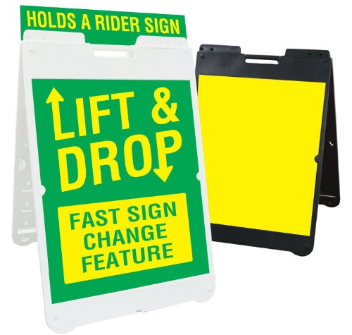 White Simpo Sign II Sidewalk Sign Stand with Rider Feature