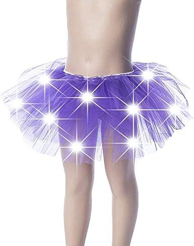Vestido elástico con tutú para niña con luces LED, mini falda de ...
