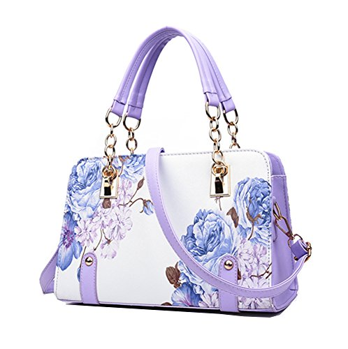 (Yan Show Women's PU Chinese National Style Shoulder Bag Inkjet Flower Handbag)