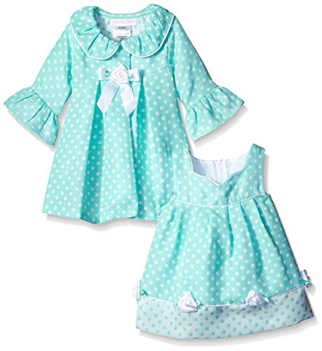 Bonnie Baby Baby-Girls Check Dress and Coat Set, Aqua, 24 Months