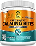 Zesty Paws Calming Soft Chews for Dogs - Anxiety Composure Aid Treats with Suntheanine - L Tryptophan for Dog Stress Relief - Great for Storms + Barking & Chewing - Peanut Butter Flavor - 90 Count