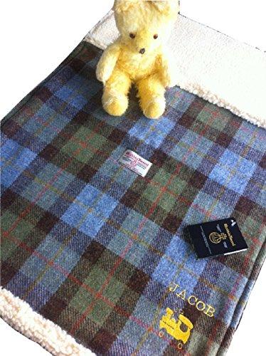 Baby Blanket - Hunting MacLeod plaid Harris Tweed hand made in - In Stores Edinburgh