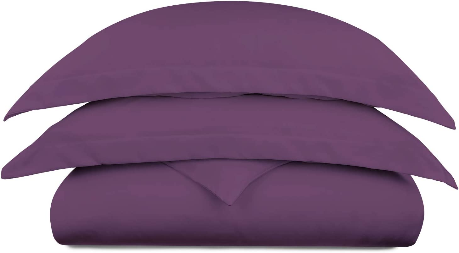 Cosy House Collection Luxury Bamboo Duvet Cover Set 2-Piece - Ultra Soft Hypoallergenic Bedding - Zippered Comforter Protector, Includes 1 Pillow Sham - Twin/Twin XL - Purple