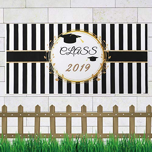 Large Graduation Party Banner for Graduation Party Supplies 2019 Photo Prop Booth Backdrop Graduation Decorations Indoor Outdoor (Class of 2019) -