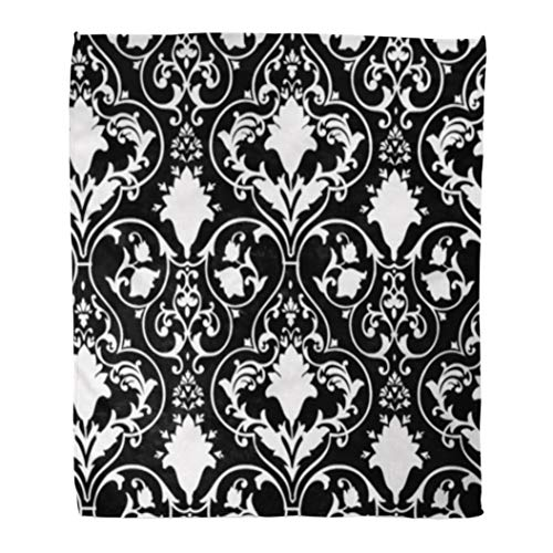 Golee Throw Blanket Fleur Antique Scroll and Lis Pattern Black LYS White Damask 60x80 Inches Warm Fuzzy Soft Blanket for Bed Sofa