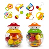 GOODWAY Rattle and Teether Baby Toys 3-6 Months, 8
