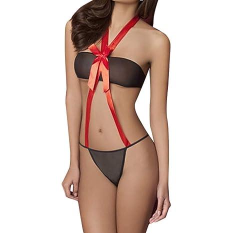 ❤ Conjunto de lencería Mujer Navidad, Dos Piezas de Ropa Interior de Mujer Lencería Sexy Navidad Sleepwear Bow camisón Absolute: Amazon.es: Ropa y ...