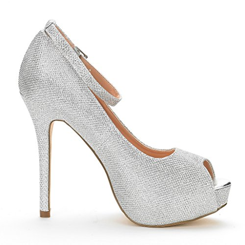 DREAM Women's Pump Silver Plaform Shoes Heel High Dress PAIRS 10 Swan Glitter rCZwqr5H